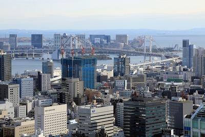 東京タワーから見たグローバルフロントタワーとレインボーブリッジ