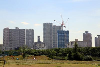豊洲6丁目公園から見た東雲のタワーマンション群