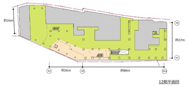 (仮称)新宿駅西口地区開発計画 12階平面図