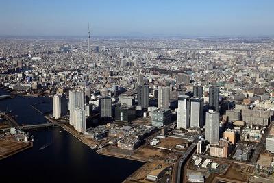 豊洲から東京スカイツリーまでの空撮