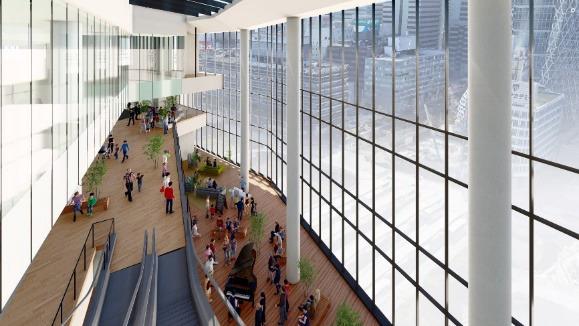 (仮称)新宿駅西口地区開発計画 .14階より吹抜の滞留空間