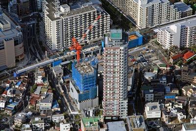 京成曳舟駅前東第二南地区第一種市街地再開発事業の空撮