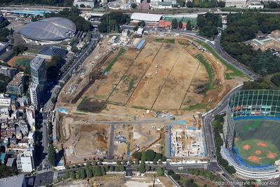 新国立競技場の建設地の空撮