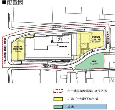 新橋田村町地区第一種市街地再開発事業 配置図