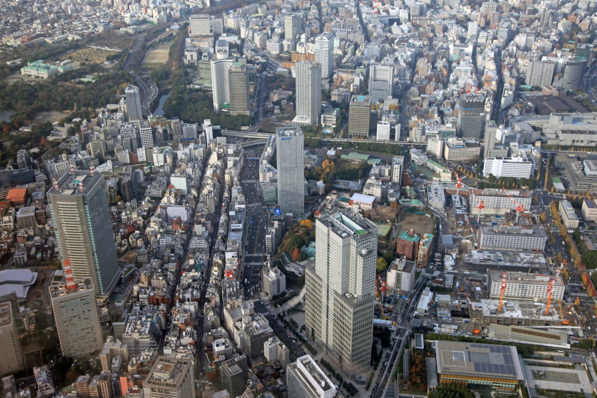 空撮 永田町・赤坂 : 超高層マン...