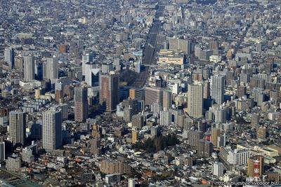 川口駅周辺のタワーマンション群の空撮