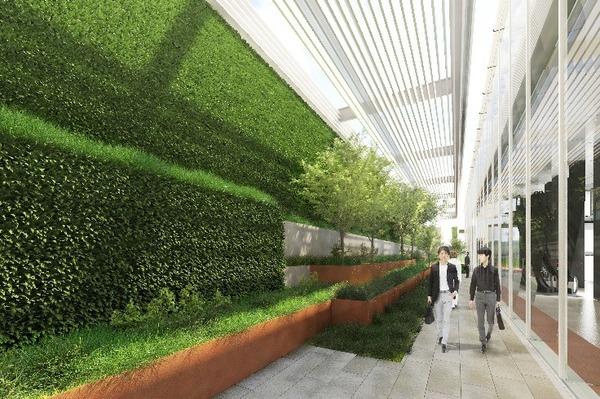 虎ノ門二丁目地区第一種市街地再開発事業 業務棟 2階外構通路イメージパース