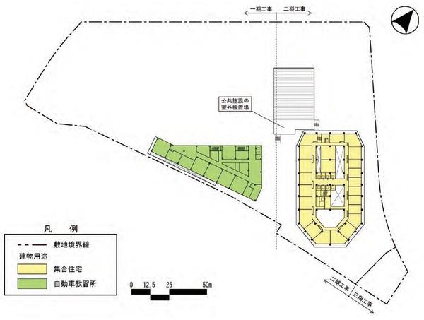 東金町一丁目西地区市街地再開発事業 建物平面図(地上6階)