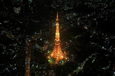 東京タワーの空撮夜景