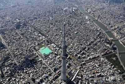 東京スカイツリーから両国までの空撮