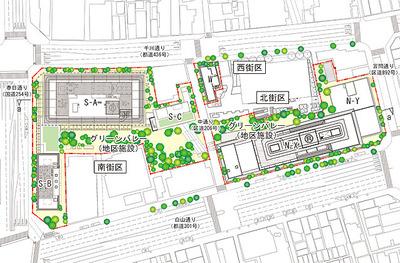 春日・後楽園駅前地区第一種市街地再開発事業の配置図