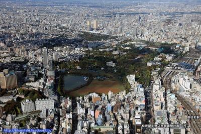 上野方面の空撮