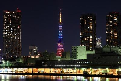 東京タワーと汐留の夜景