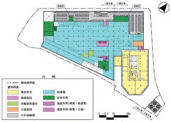 東金町一丁目西地区市街地再開発事業 建物平面図(地下1階)