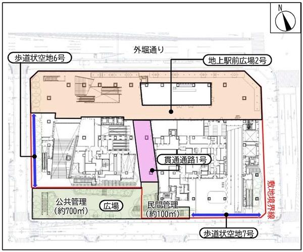 虎ノ門一丁目東地区第一種市街地再開発事業 1階平面図