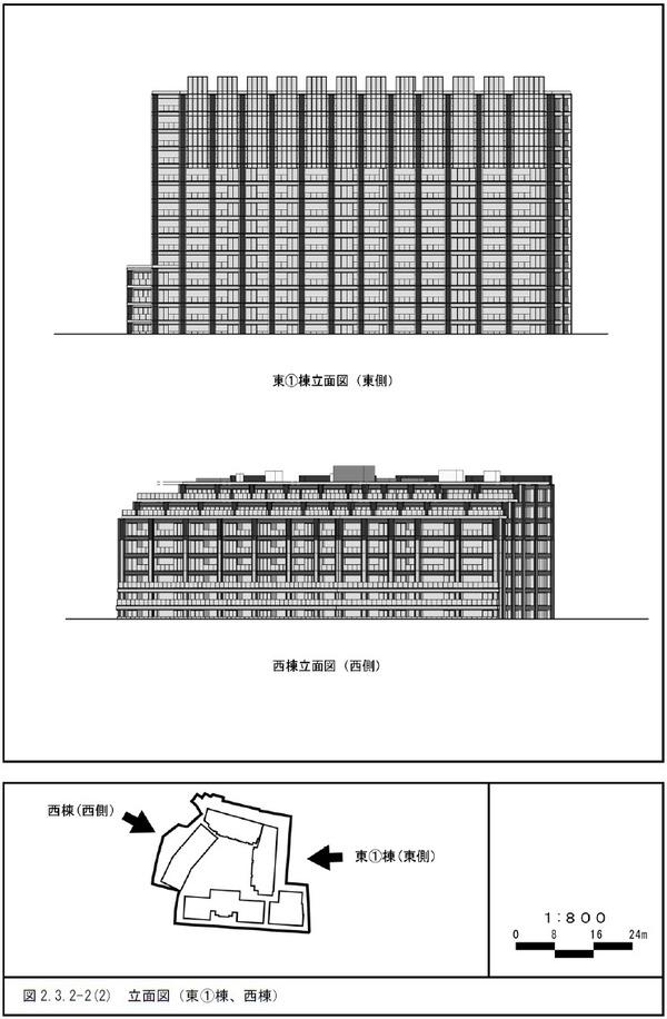 (仮称)三田一丁目計画 立面図(東�棟、西棟)