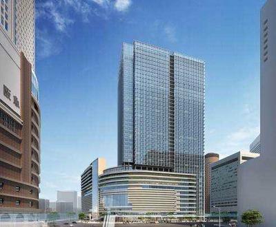 梅田1丁目1番地計画ビルの完成予想図