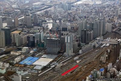 田町-品川間の新駅の建設地の空撮