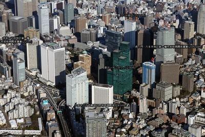 六本木・赤坂・虎ノ門方面の超高層ビル群の空撮