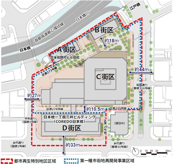 日本橋一丁目中地区第一種市街地再開発事業 配置図