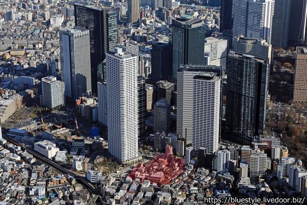 西新宿五丁目中央南地区第一種市街地再開発事業の計画地の空撮