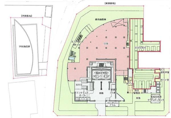もと淀川区役所跡地等活用事業 1階平面図