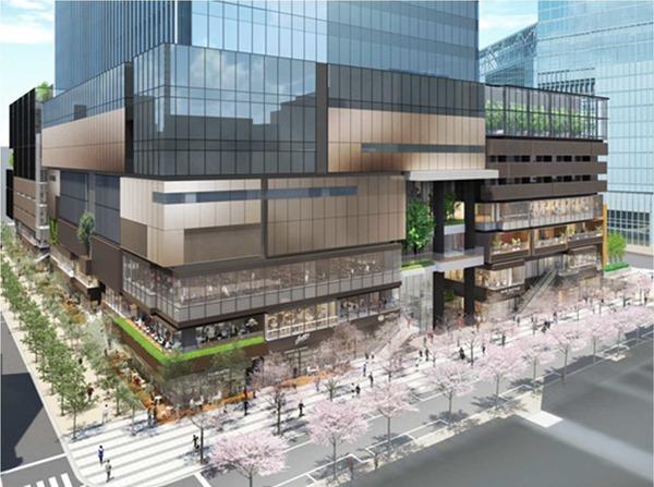 東京駅前八重洲一丁目東B地区第一種市街地再開発事業 八重洲仲通り・さくら通り沿いの低層部イメージ