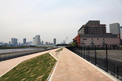 昭和大学江東豊洲病院・東電堀前の遊歩道