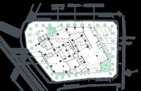 プラウドタワー東池袋ステーションアリーナ 敷地配置図