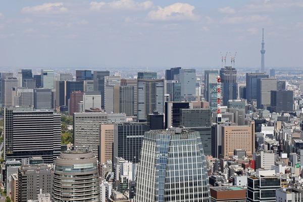 東京タワーから見た東京駅周辺の超高層ビル群