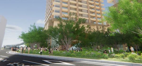 柏駅西口北地区市街地再開発事業 第一小学校側のオープンスペースイメージ