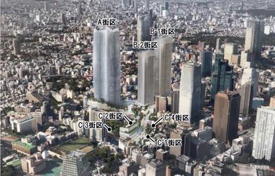 虎ノ門・麻布台地区第一種市街地再開発事業 完成予想図