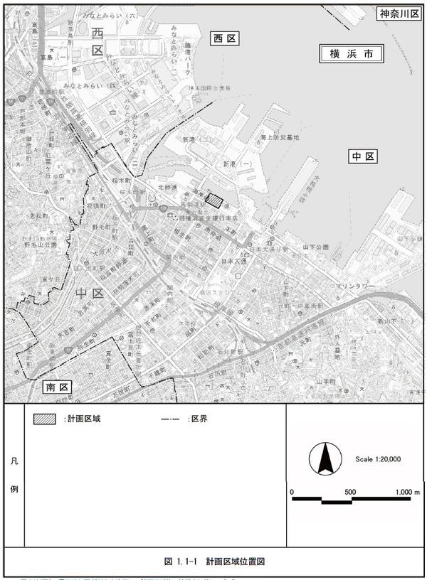 (仮称)横浜市中区海岸通計画 計画区域位置図
