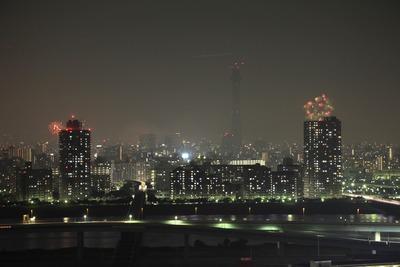 東京スカイツリーと隅田川の花火