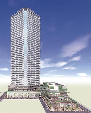 小杉町3丁目東地区第一種再開発事業の完成予想図