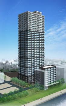 (仮称)湊二丁目東地区第一種市街地再開発事業B街区の完成予想図