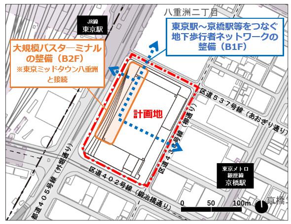 八重洲二丁目中地区第一種市街地再開発事業 配置図