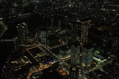豊洲の超高層ビル群の空撮夜景
