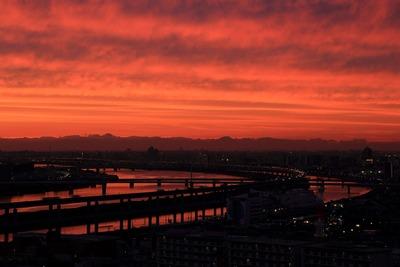 荒川方面の夕焼け