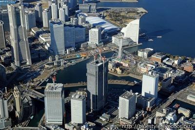 横浜市新市庁舎周辺の空撮