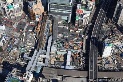 渋谷駅街区開発計画の空撮
