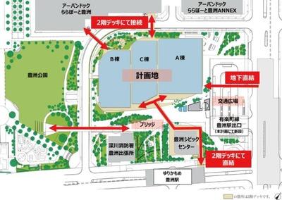 豊洲二丁目駅前地区第一種市街地再開発事業 敷地配置図