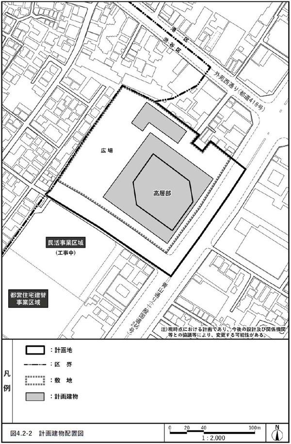 (仮称)北青山三丁目地区市街地再開発事業 配置図