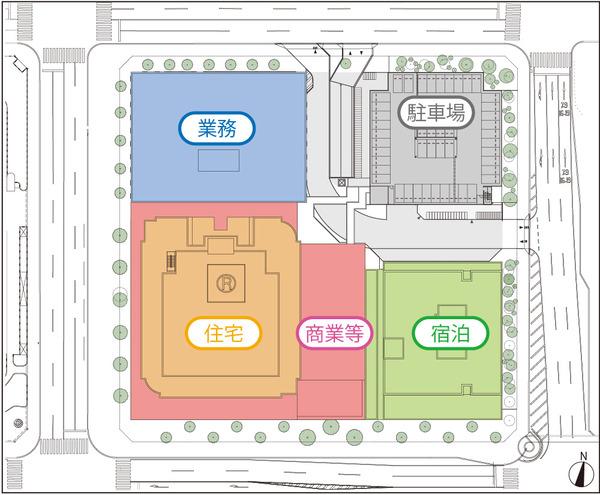 北8西1地区第一種市街地再開発事業 配置図