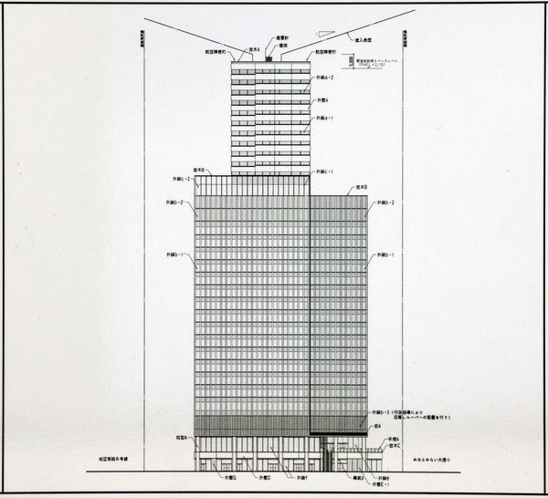 (仮称)MM37タワー 都市景観形成行為のお知らせ 立面図