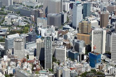 赤坂ツインタワー方面の空撮