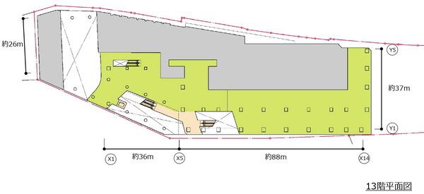 (仮称)新宿駅西口地区開発計画 13階平面図