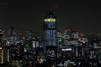 世界貿易センターから見た虎ノ門ヒルズの建設中夜景