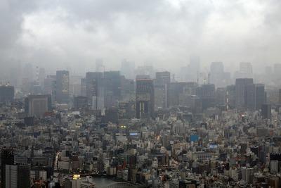 東京スカイツリーの天望デッキから見た東京駅方面の超高層ビル群