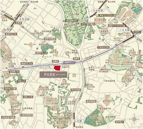 (仮称)パークウェルステイト西麻布計画 計画地案内図